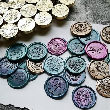 Sceau de sceau en cire Antique rétro | Cire à sceller, Scrapbooking sur tête, poignée métallique décorative de mariage avec motif carte d'amour, fleur d'arbre, ROSE 1