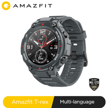 US $10 coupon for 75% discount New 2020 CES Amazfit T rex T-rex Smartwatch Contrl Music 5ATM Smart Watch GPS/GLONASS 20days battry life Fitness Tracker