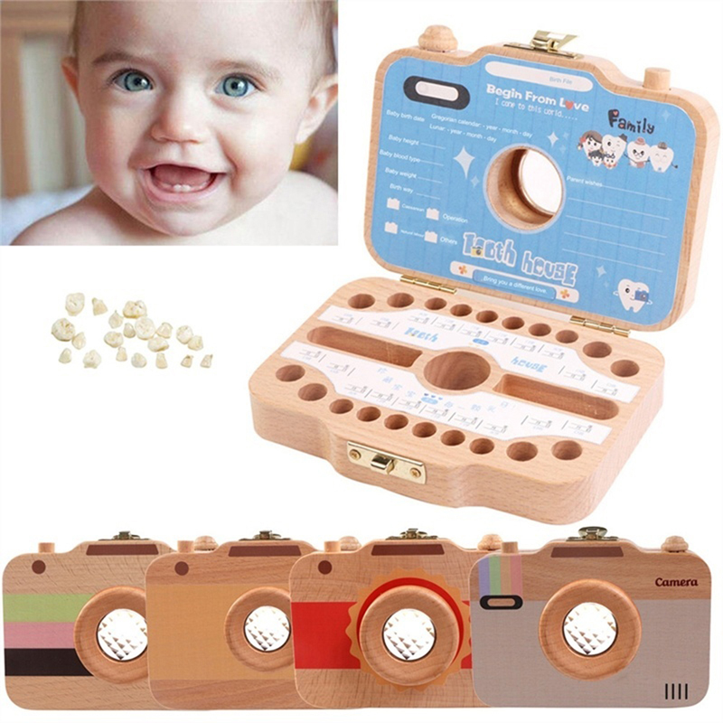 Wooden Baby Tooth Box Organizer Milk Teeth Storage Umbilical Lanugo Save Collect Baby Souvenirs Gifts