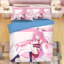 3D bedding sets cartoon duvet cover single double queen king anime bedclothes 3pcs fashion beautiful girls blue quilt cover sets(China)