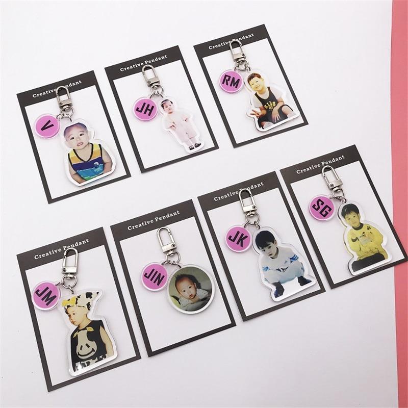 KPOP Bangtan Keychain Childhood Photos Crystal Key Pendant Album Ring Pendant Cartoon Bag Accessories Periphery