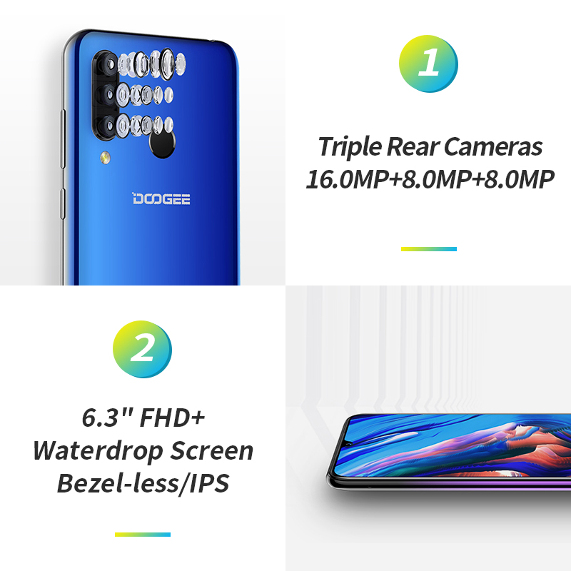 Doogee N20 4G Smartphone 6,3 Pantalla de gota de agua teléfono móvil 4GB + 64GB Octa Core 16MP Triple cámaras traseras 4350mAh 10w carga rápida - 5