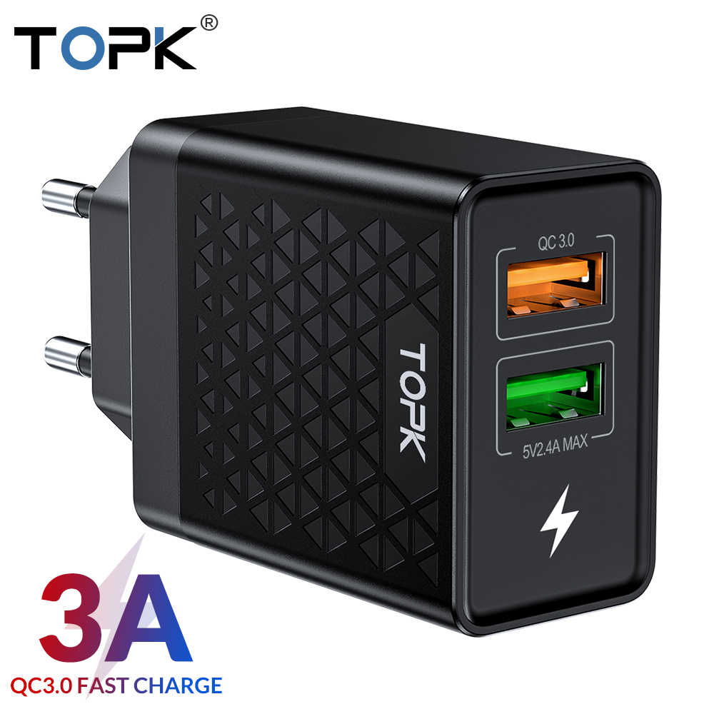 Topk B254Q 28W Quick Charge 3.0 Dual USB Charger untuk Iphone Samsung Xiaomi Huawei Adaptor Uni Eropa Perjalanan Dinding Ponsel charger Telepon