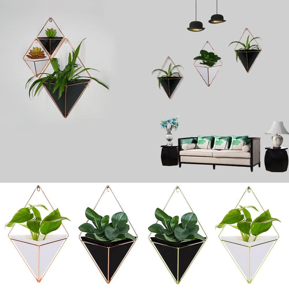Acrylic Geometric Plant Flower Pot Hanging Pot with Holder Succulent Planters Vase Wall Decor Hanging Planter Home Decor