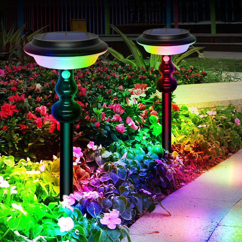 Newest 64 led Solar Light Colar Changing Warm White Solar Lamp With 4 Modes Inground Lighting For Wall Yard Garden Decoration