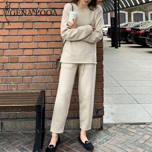 Image 5 - Genayooa Vintage de punto para mujer trajes de dos piezas de manga larga conjunto de 2 piezas para mujer casual conjunto de dos piezas y pantalones 2019 invierno