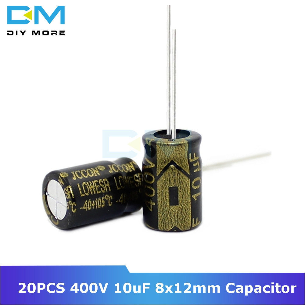 20PCS 400V 10uF 8x12mm 8x12 Aluminum Electrolytic Capacitor High Frequency Low Impedance Through Hole Capacitor 8*12mm