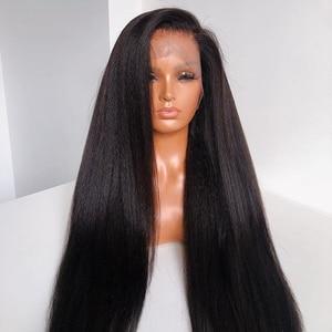 Итальянские прямые человеческие волосы Yaki, кружевные передние парики, предварительно выщипанные волосы, яки, прямые, 4x4, шелковая основа, по...
