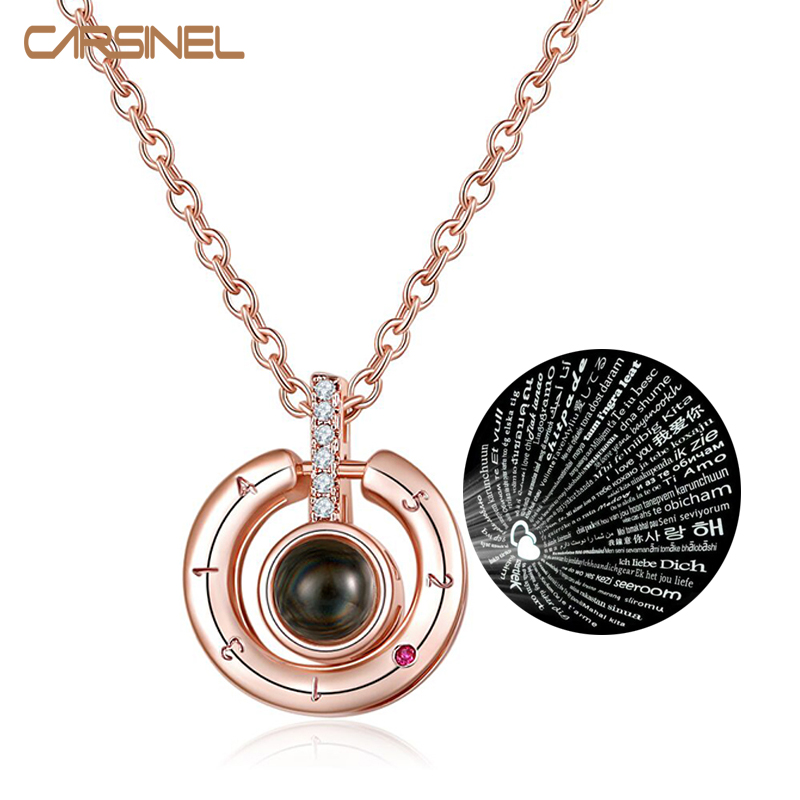 CARSINEL 100 Languages I Love You Projection Pendant Necklace Men Crystal Zircon Necklace Wedding Jewelery
