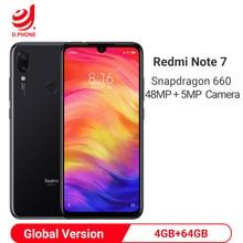 "Global Version Xiaomi Redmi หมายเหตุ 7 4GB 64GB Snapdragon 660 AIE มาร์ทโฟน OCTA Core 6.3 ""Full Screen 48MP ด้านหลังกล้องโทรศัพท์มือถือ"