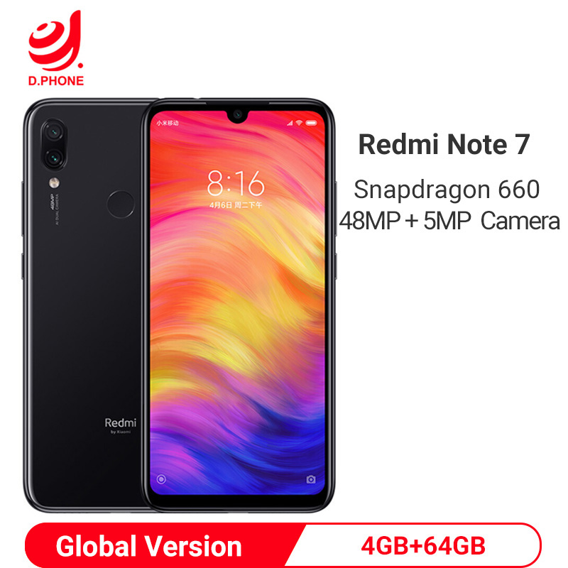 Global Version Xiaomi Redmi Note 7 4GB 64GB Snapdragon 660 AIE Octa Core Smartphone 6.3