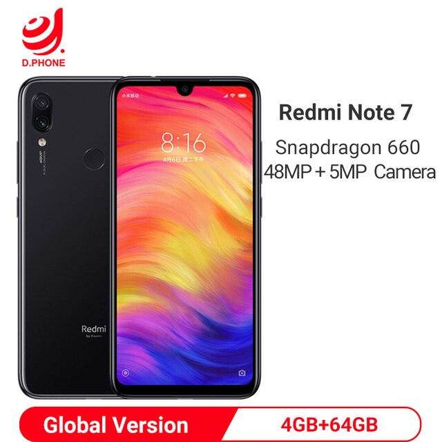 "Global Version Xiaomi Redmi Note 7 4GB 64GB Snapdragon 660 AIE Octa Core Smartphone 6.3"" Full Screen 48MP Rear Camera Cellphone"