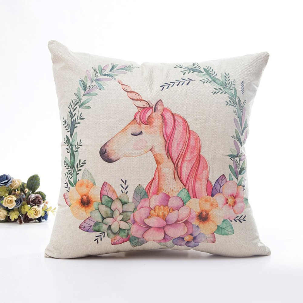 2018 HOT Animal  Pillow Cover Flower Printing Luxury Comfortable Cushion Invisible Zipper Pillow Case Home Office