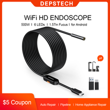 DEPSTECH 86T Endoscope USB Camera Flexible IP67 Waterproof 6 Adjustable LED Inspection Borescope Camera Type for Android PC