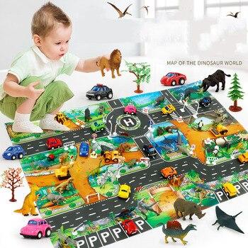 83x57cm Kids Toy Play Mat Dinosaur World Traffic Car Parking Scene Game Pad Waterproof Non-woven Baby Floor Mat Educational Toy