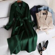 Ondinha de água dupla face real cashmere casaco feminino casaco de lã real inverno coreano longo casaco feminino outerwear alta qualidade
