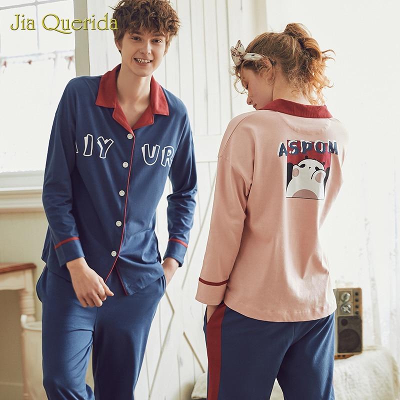 Matching Pijamas Couple Men Sleepwear Chinese Pajamas Turn Down Collar Buttons Letter Printing Long Sleeve Long Pants Couple Set