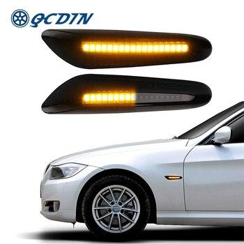 QCDIN dla BMW 1/3/5 serii boczne światła obrysowe LED włączony kierunkowskaz bursztyn korzystając z łączy z boku sygnału światło do BMW X1 E84 X3 E83 X5 E53 światła