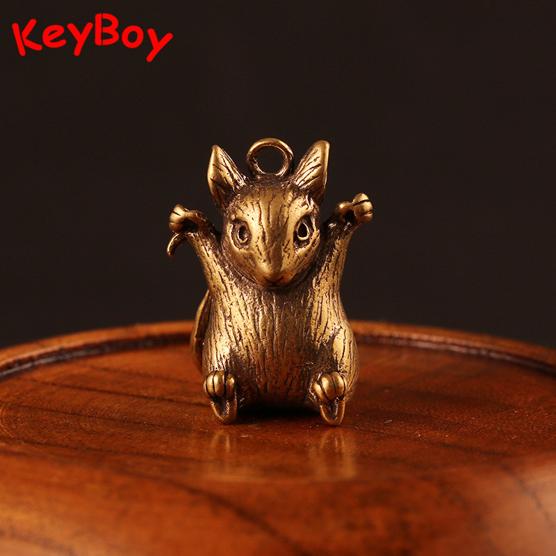 Retro Brass Zodiac Animals Rat Statue Key Chain Rings Pendants Metal Copper Horse Bull Snake Dragon Monkey Sheep Car Keychain
