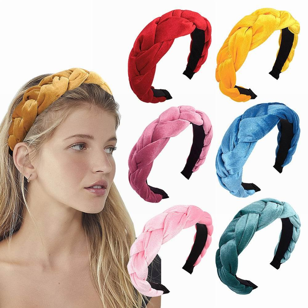 1PC HOT Fashion Bezel Twist Velvet Braid Headband For Women Solid Color Thicken Hairband Women Girls Hair Accessories Hair Band