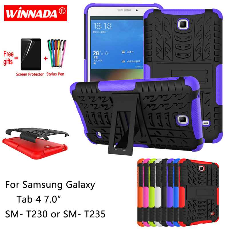 For Samsung Galaxy Tab 4 7.0 Case For SM- T230 T235 Tablet Armor Case Silicone TPU+PC Shockproof Stand Cover +Film+Pen