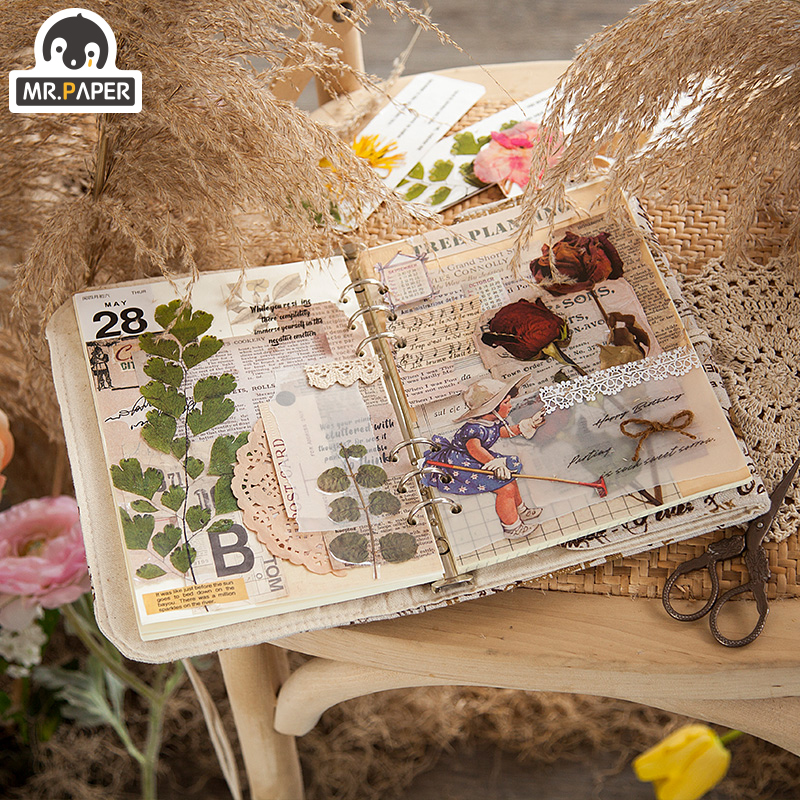 Mr.paper 8 Designs 6Pcs Weekend Flowers Deco Stickers Scrapbooking Styling Bullet Journal Toy Deco Album DIY Stationery Stickers 3