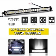Super bright 10D 13 26LED 130W LED Light Bar Single Rows Spotlight Work Light Combo Beam offroad light bar car lights
