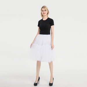 Image 2 - Knee Length Net Tulle Petticoat Womens 50s Petticoat Skirts Vintage Rockabilly Tutu Crinoline Underskirt for Women CQ046