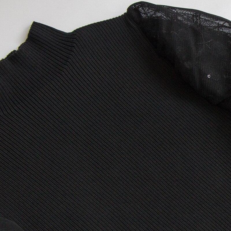 Trafalgar 2019 automne vêtements nouveau Style col haut manches bouffantes gaze Joint coupe mince robe en Jersey