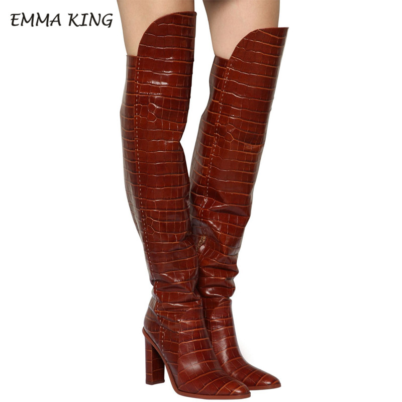 EMMA KING 2019 Winter Crocodile Brown Knee High Sex Boot Chunky Heel Round Toe Funky Shoes Luxury Zipper For Women Dress Party