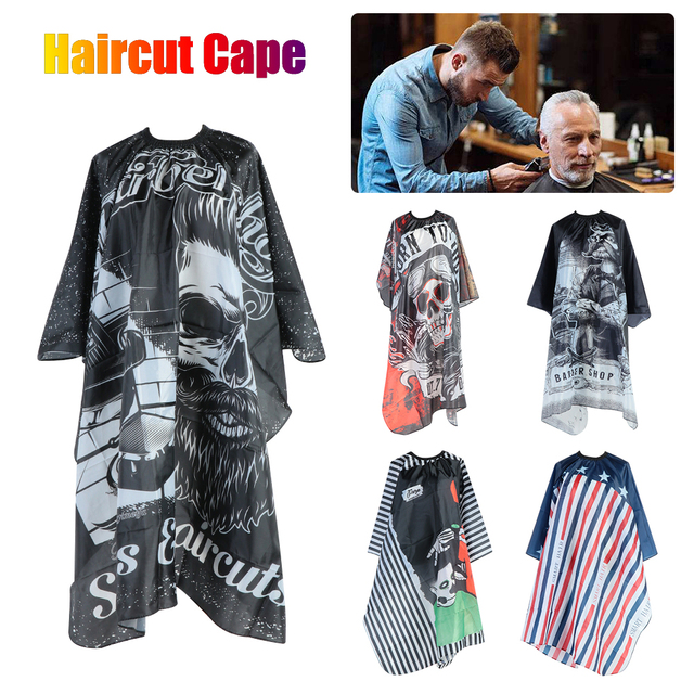 2020 New Haircut Hairdresser Barber Cloth Skull Pattern Apron Polyester Cape Hair Style Design Supplies Salon Barber Dress