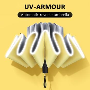 Umbrella female rainproof windproof reflective umbrella anti-UV yellow folding automatic 10k mini