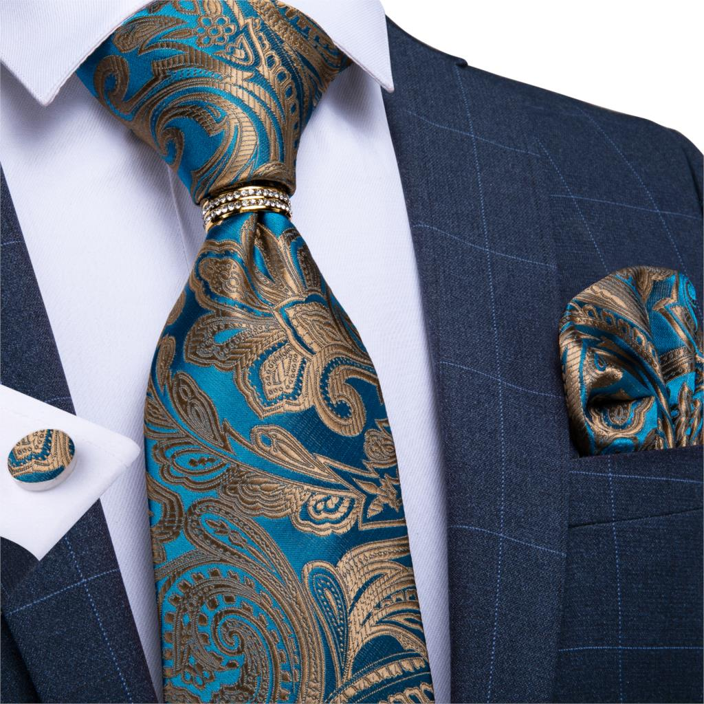 Men Tie Blue Gold Paisley Quality Wedding Tie For Men Tie Ring Hanky Cufflink Silk Tie Set DiBanGu Designer Business JZ03-7281