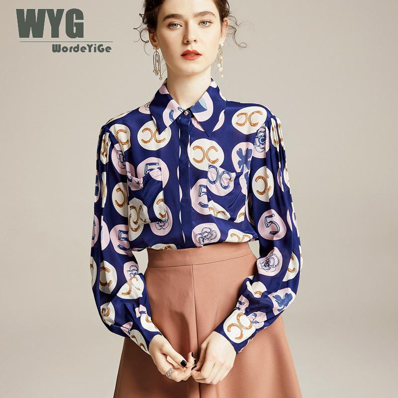 Blouses bleues femmes 2020 printemps nouveau bureau dame Style Double C lettres imprimer à manches longues pur soie dessus de chemise