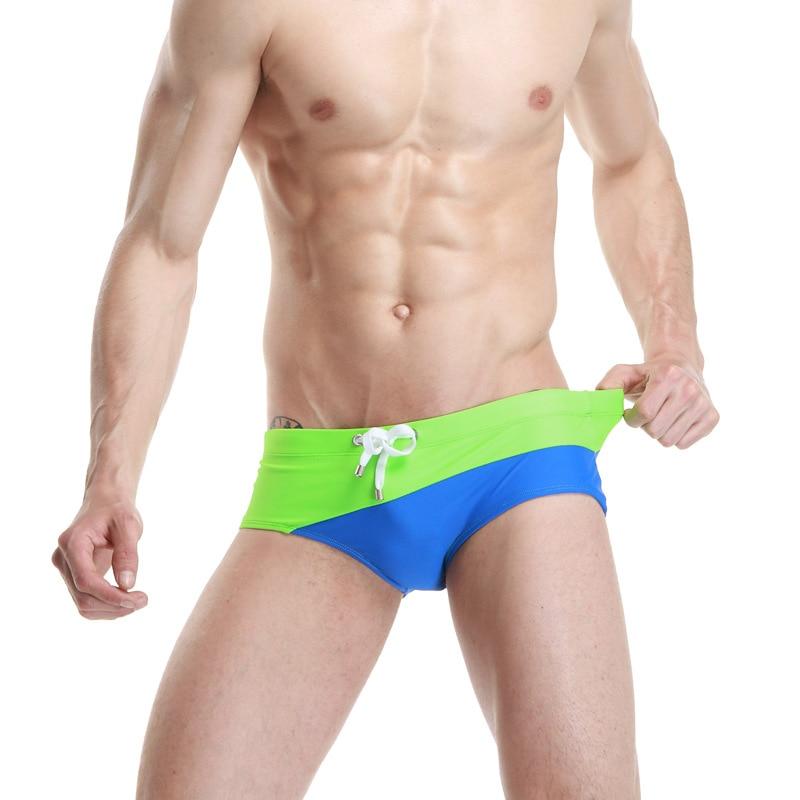 2015 New Style SEOBEAN Men Swim Briefs Low Waist Sexy MEN'S Swimming Trunks