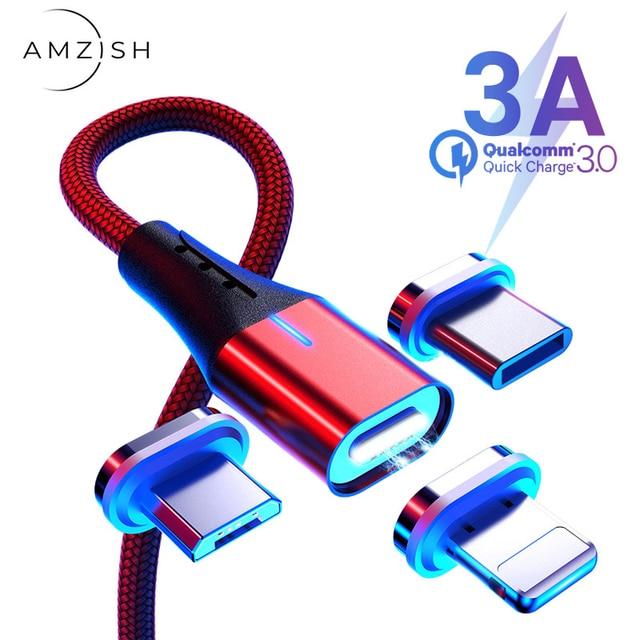 Amzish 3a magnético micro cabo usb para iphone samsung tipo de dados c cabo usb magnético carregador rápido tipo c para o cabo de carregamento do telefone