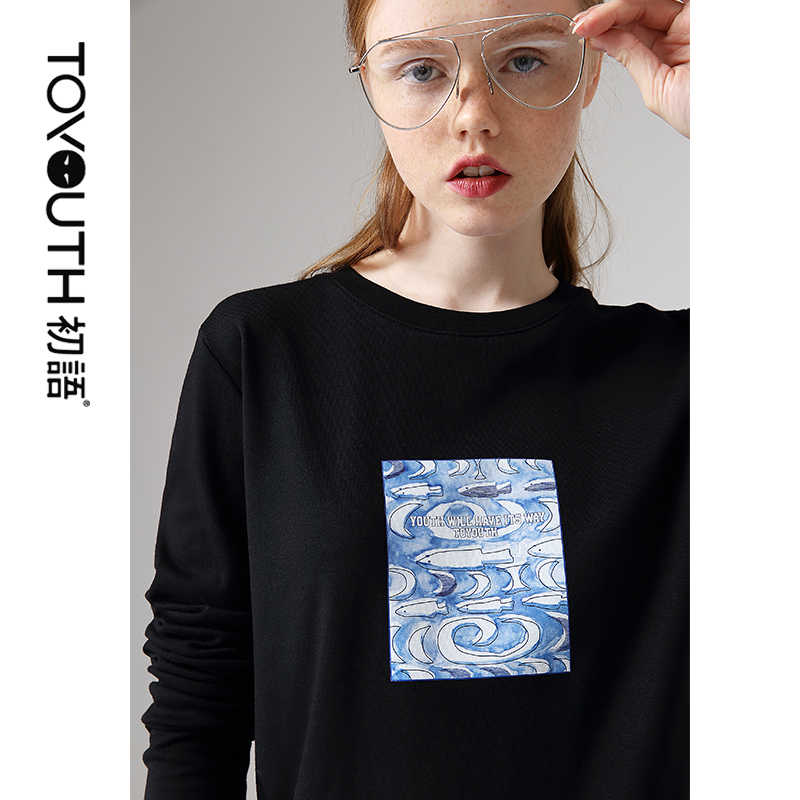 Toyouth Casual Printed Long Sleeve Autumn T-Shirts For Women Round Neck Long Sleeve Tops Black White Tee Shirt Femme