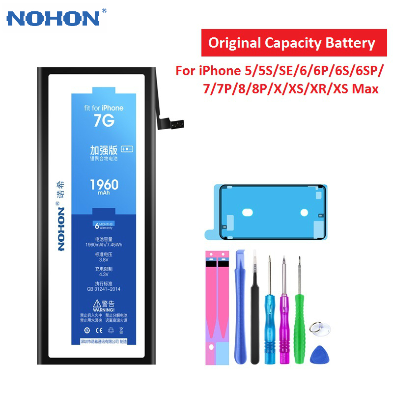 NOHON Phone Battery For iPhone 7 Battery Original Capacity Bateria For iPhone 6 6S 8 Plus 5S SE X XR XS Max Replacement Batarya image