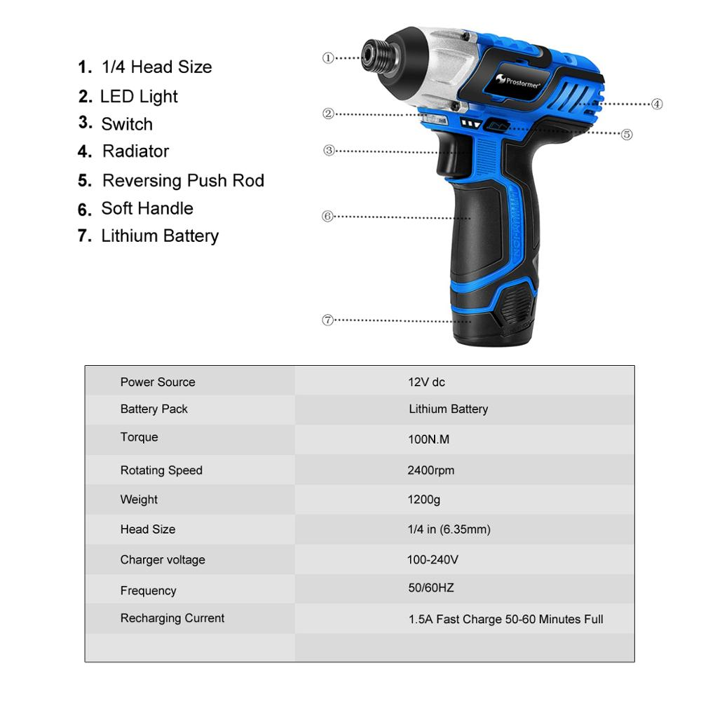 Tools : 12V Cordless Screwdriver Drill Mini Wireless 2000mAh Lithium-Ion Battery Power Driver Hand Drill Home DIY Keyless by PROSTORMER