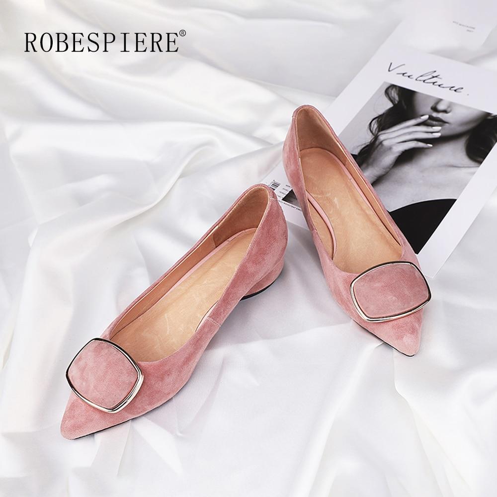 ROBESPIERE/популярные вечерние женские туфли лодочки качественная Повседневная замшевая обувь с закрытым носком пикантные розовые женские туф