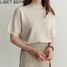 New 2020 Spring Summer Women's T-shirt Tee Bottoming Knitting Loose Basic Casual