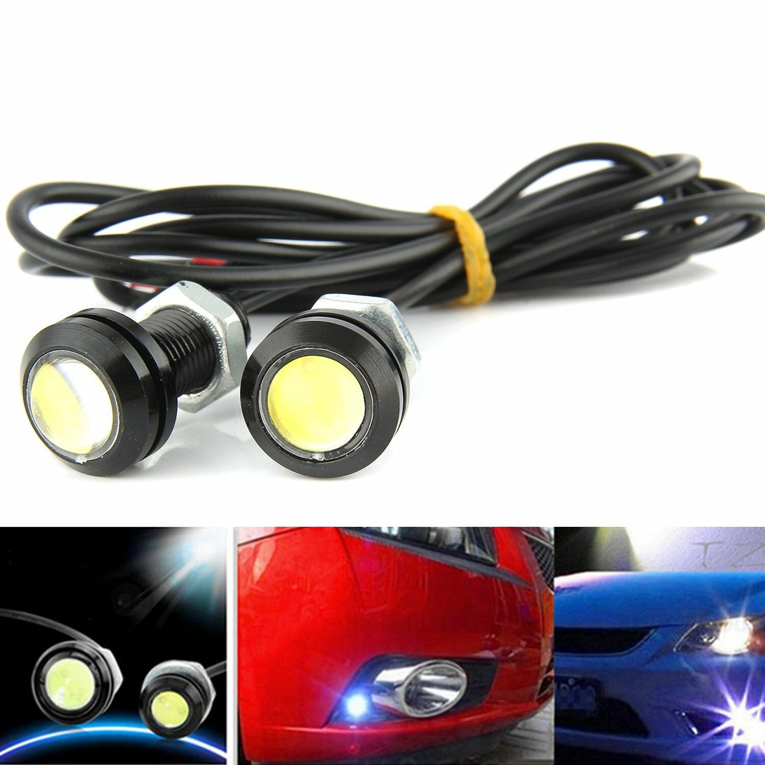 shunyang Eagle Eye LED 18MM Car Fog Lamp DRL Reverse Parking Turn Signal Waterproof Daytime Running Lights Red 10Pcs