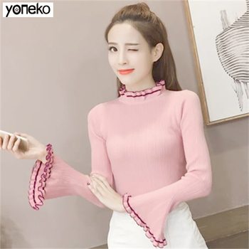 цена на New Autumn and Winter Turtleneck Button Slim-fit Knit Shirt Female Casual Long Sleeve Jumpers Stretch Sweaters Women's Knitwear