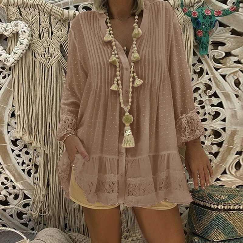 DIHOPE 여성 레이스 중공 셔츠 드레스 긴 소매 v 넥 Pleated 느슨한 점 미니 드레스 여성 섹시 블라우스 Vestido 플러스 크기