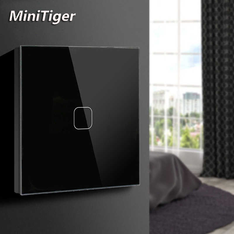 Minitiger Led Lamp Touch Schakelaar Eu/Uk Standard Glass Panel Switch, 2 Gang 1 Manier, AC220V Eu Light Wall Touch Screen Switch