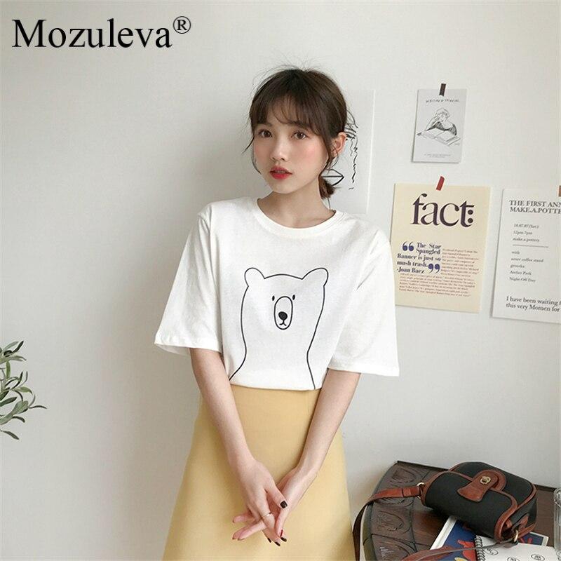 H88d6634491044504a518568f9aa2451cs Mozuleva 2020 Chic Cartoon Bear Cotton Women T-shirt Summer Short Sleeve Female T Shirt Spring White O-neck Tees 100% Cotton