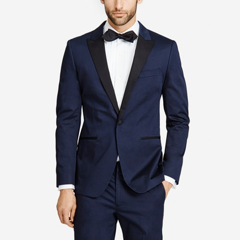 latest coat pant designs navy blue men suits for wedding prom peaked lapel slim fit male tuxedos homecoming costume 2 piece