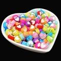Акриловые зернистые бусины в форме сердца для изготовления ювелирных изделий, браслетов «сделай сам», 50 шт.