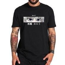 Killua zoldyck diabo olhos t camisa hunter x hunter tshirt 100% algodão básico manga curta tripulação pescoço t topos