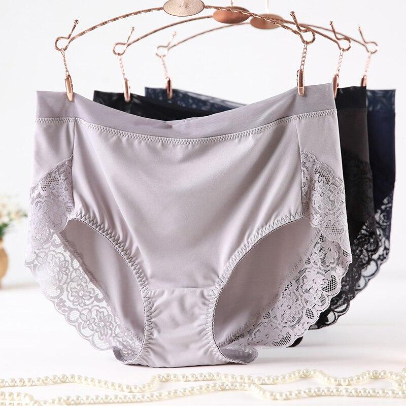 2019 Newest High Waist Lace Plus Size Panties Women Milk Silk Big Size Briefs Intimates Female Underwear Black Pink 2XL 3XL 4XL